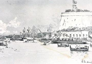 View of Grand Harbour with the liner Ophir, March 1901, by the court painter Edoardo de Martino.
