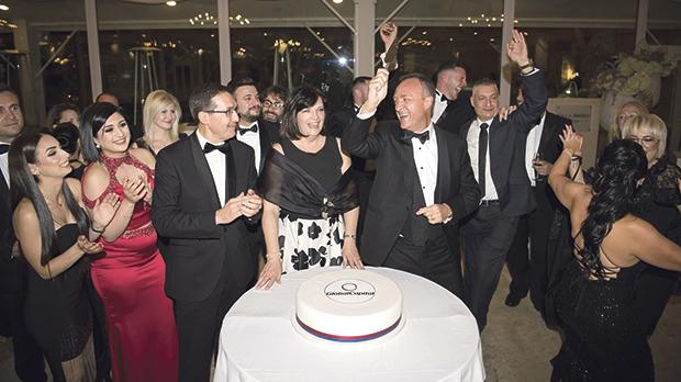GlobalCapital Life Insurance chairman Paolo Catalfamo (right) during the fifth gala awards ceremony with GCLI managing director Cristina Casingena (centre) and GCLI head of sales Christopher Chetcuti.