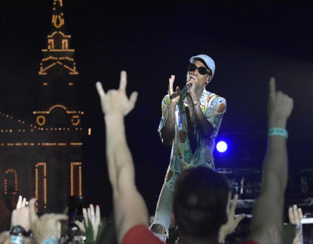 Rapper Wiz Khalifa sings near the crowds at the Isle of MTV on the Granaries in Floriana on June 28. Photo: Mark Zammit Cordina
