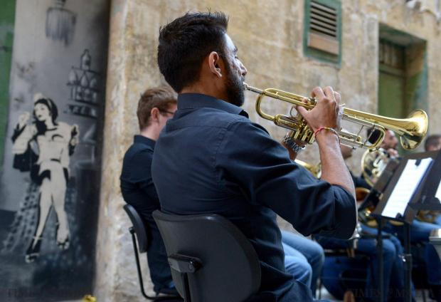 Live music fills Valletta's Strait Street in the first event organised by Strada Stretta Events in collaboration with the Valletta 2018 Foundation. The brass and percussion ensembles of the Malta Philharmonic Orchestra, conducted by Jose Garcia Gutierrez, performed works by Beethoven, Dvorak, Lloyd Webber and others on June 18. Photo: Matthew Mirabelli