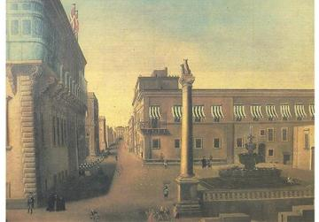 A view of St George's Square, Valletta, in the mid-17th century, including the 1615 fountain.
