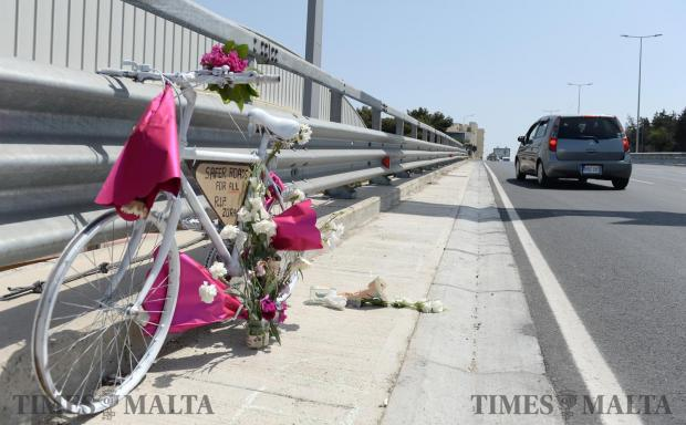 A roadside memorial, known as a ghost bike, is set up at the Kappara junction on June 3, near the spot where cyclist Zoran Pavlovic, 53, was killed. Photo: Matthew Mirabelli