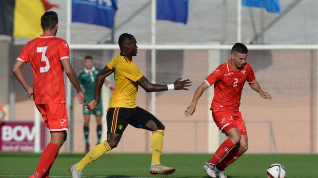 Jean Borg (right) of Malta in possession against Belgium. Photo: Matthew Mirabelli