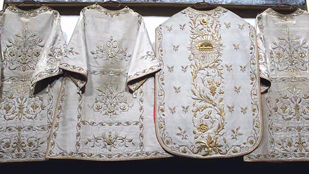 Chasuble and three dalmatics (1886) from the set of liturgical vestments.