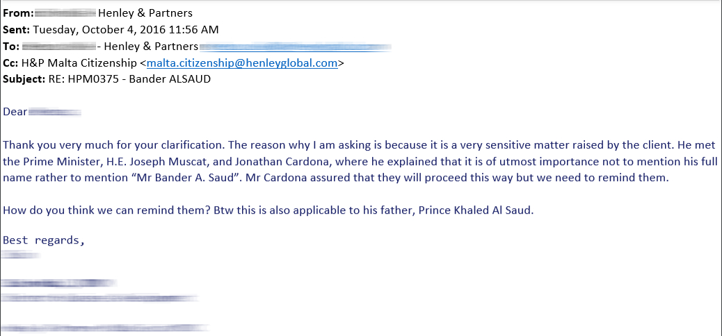 The email requesting that a Saudi prince's name be altered when published in the official list of citizens.