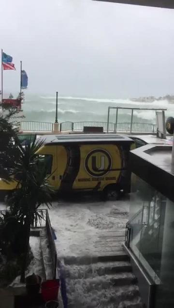 Waves crashing into a Sliema mall. Video: Rachel Radmilli