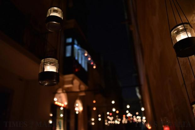 Candles hang above the roads in Vittoriosa during the annual Birgu by Candlelight on October 15. Photo: Mark Zammit Cordina