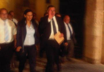 Carm Mifsud Bonnici waves as he leaves the Palace this evening. A small crowd cheered and shouted 'Kuragg Karm'.