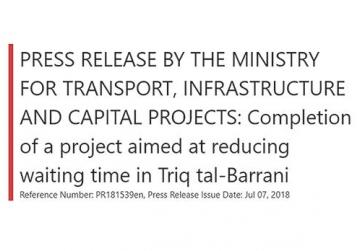 A cutting of the Transport Ministry's official statement announcing completion of the works at Tal-Barrani.