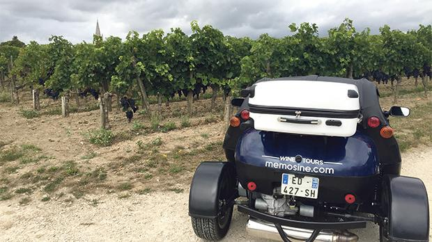 Touring vineyards on a Memosine cabriolet.