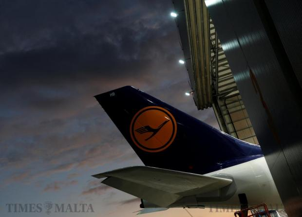 The tail of a Lufthansa airplane is seen outside a Lufthansa Technik maintenance hangar at Malta International Airport on November 23. Photo: Darrin Zammit Lupi