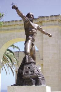 The monument of Enea by Ugo Attardi at the Lower Barrakka Gardens, in Valletta.