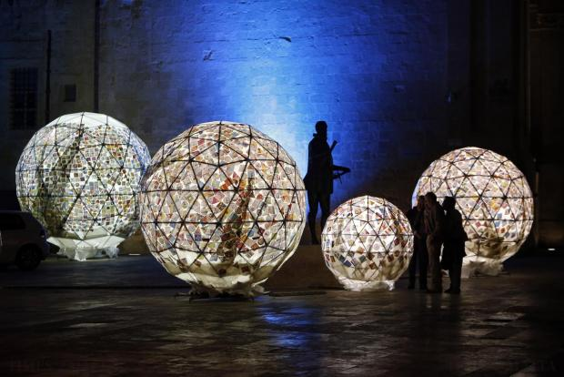 Paintings by 12,000 children are incorporated in an impressive art installation forming part of the fourth edition of the ZiguZajq Arts Festival in Valletta on November 17. Each painting was digitised, printed and integrated in the installation, by artist Austin Camilleri. Photo: Darrin Zammit Lupi