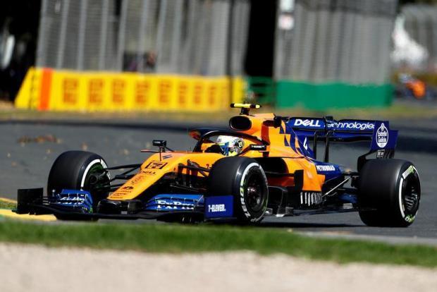 McLaren's Lando Norris in action during practice.