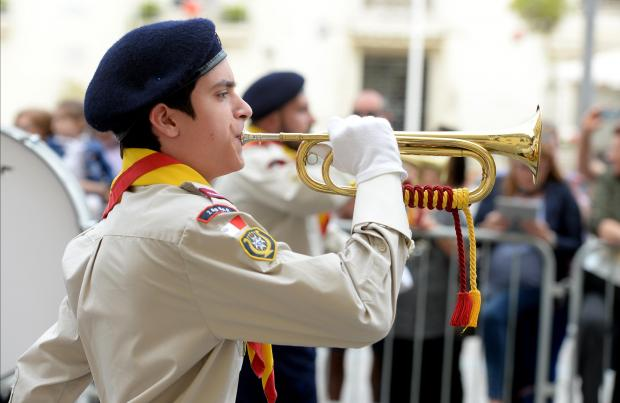 A young scout plays a musical instrument during the Annual Scout parade in Valletta on April 22. Photo: Matthew Mirabelli