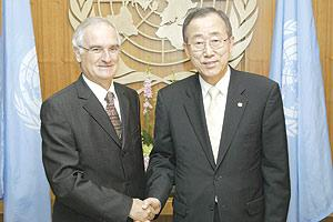 Ambassador Saviour Borg (left) after presenting his credentials to United Nations Secretary-General Ban Ki-moon in New York.