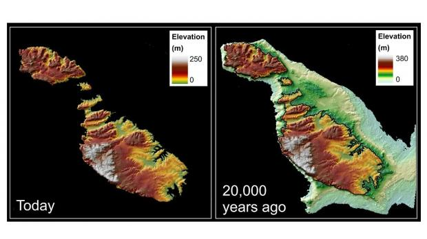Maps of the Maltese Islands today and 20,000 years ago.