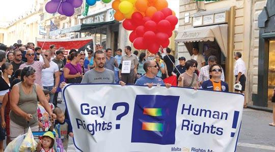 A gay rights demonstration held recently in Valletta.