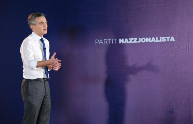 PN Leader Simon Busuttil addresses Nationalist party members during IdeaMalta , the party's first ever general convention on October 26. Photo: Mark Zammit Cordina