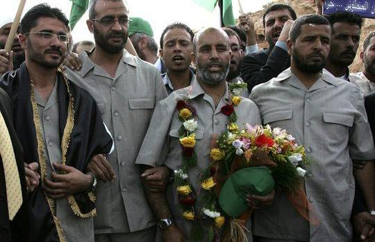 From left to right: Sultan Ajlouni, Khaled Abu Ghaleon, Amin Sanae and Yousef Abu Ghaleon are seen after their release from prison near Amman.