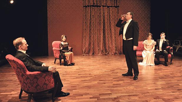 Michael Mangion's take on J.B. Priestley's An Inspector Calls is set in the Birling family's drawing room.