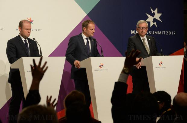 President of the European Commission Jean-Claude Juncker (R), President of the European Council Donald Tusk (C) and Malta's Prime Minister Joseph Muscat give a press conference during a European Union summit on February 3, 2017 in Valletta. Photo: Matthew Mirabelli