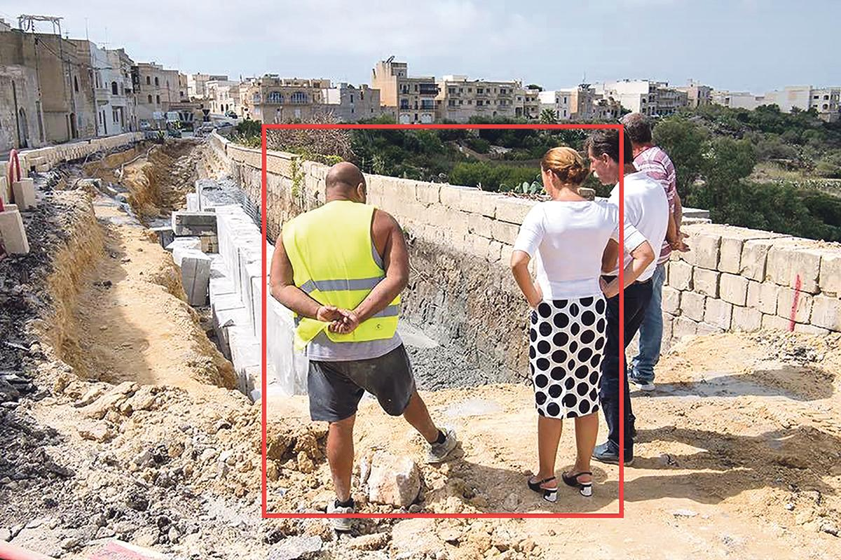 Gozo Minister Justyne Caruana discussing the works with Anthony Bugeja, one of the owners of the illegal batching plant.