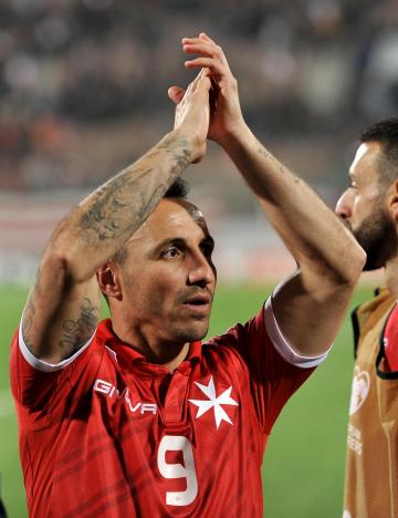 Michael Mifsud applauds the supporters. Photo: Chris Sant Fournier