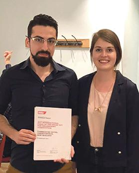 Donald Dalli (left) with the Europe Young Member representative Kathryn Bjärkvik.
