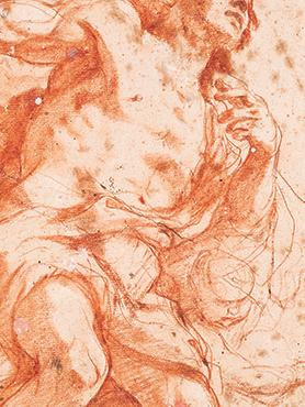 Mattia Preti: St John the Baptist (detail), 1661-1666, Red chalk on paper – private collection.