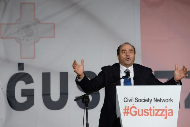 Former Italian Judge Antonio Di Pietro addresses a demonstration organised by the Civil Society Network in Valletta on December 3. Photo: Matthew Mirabelli