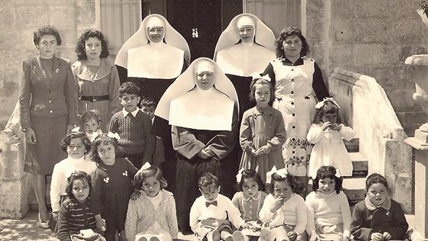 The first children who attended St Joan Antide School, Gudja, in the early 1960s. Sitting in front is Sr Annunziata Robbiani, Superior Provincial at the time. Behind, left, are Sr Anna Maria Sammut and Sr Antonia Falzon.