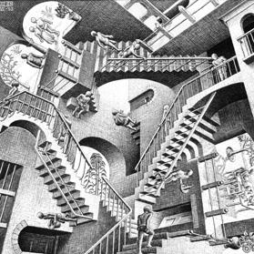 An etching by artist Maurits Cornelis Escher. Escher etchings.
