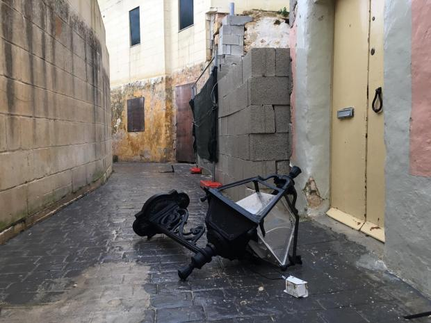Damaged street furniture in Għargħur. Photo: Matthew Mirabelli