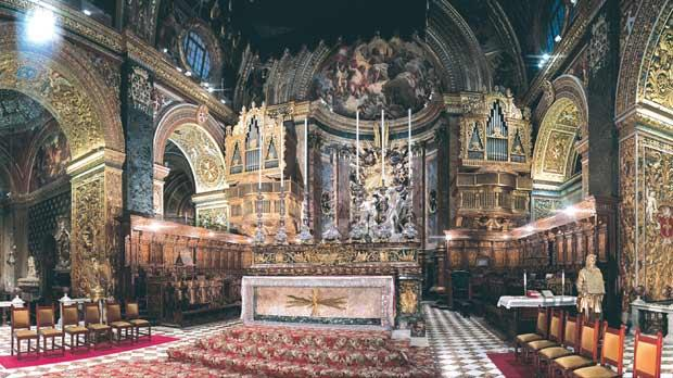 The interior of St John's Co-Cathedral. Photo: Miranda Publications