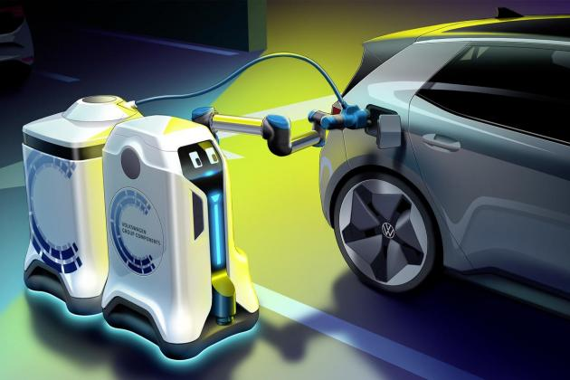 Volkswagen showcases mobile charging robots concept