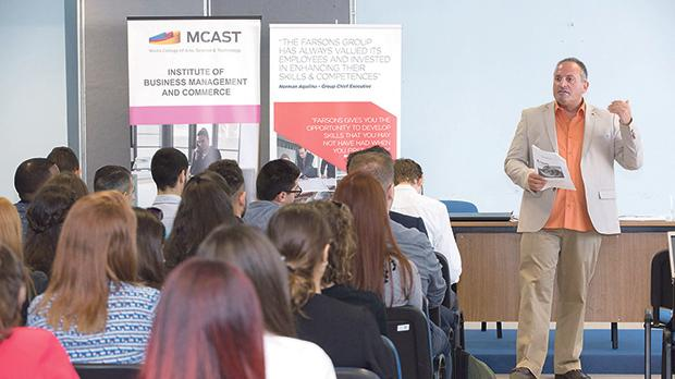 Course lecturer, Thomas J Dimech, delivering his talk during a co-lecturing seminar held for first-year students on the BA Business Enterprise course within the Institute of Business Management and Commerce at Mcast.