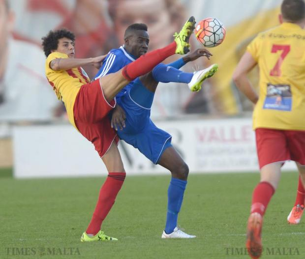 Birkirkara's Emerson Marcelina (left) tries to beat Mosta's Onyekachi Okonkwo, during their Premiership league match at the Hibernians stadium in Paola on December 19. Photo: Matthew Mirabelli