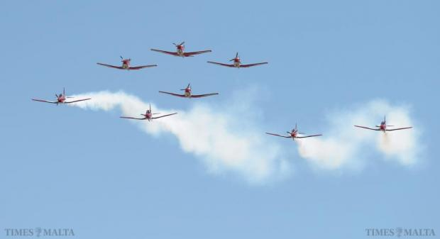 The Swiss Air Force PC-7 display team perform their routine during the Malta International Airshow on September 27. Photo: Matthew Mirabelli