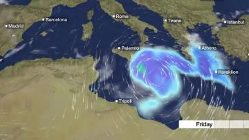 Very strong wind warning until 11pm, possible 'Medicane' close to Malta | Video: Malta Weather