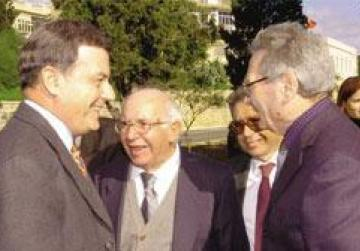 Wistin Abela (centre) seen with former prime minister Alfred Sant and former health minister Vincent Moran.