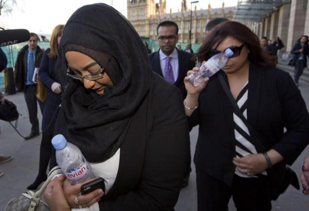 Sahima Begum (left), older sister of Shamima Begum, as she was leaving the House of Commons in 2015 after giving evidence on the background and details leading to the disappearance of Shamima, who fled her London home for the conflict in Syria.