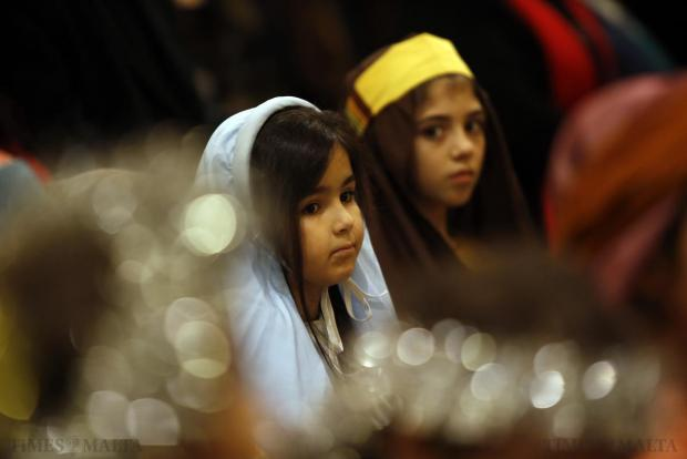 Schoolchildren in costume for a Nativity play during a mass at St John's Co-Cathedral which started off the fundraiser campaign Milied Flimkien on December 10. Photo: Darrin Zammit Lupi