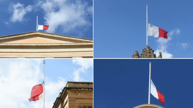 Flags on government buildings are flying at half mast. Photos: Jonathan Borg