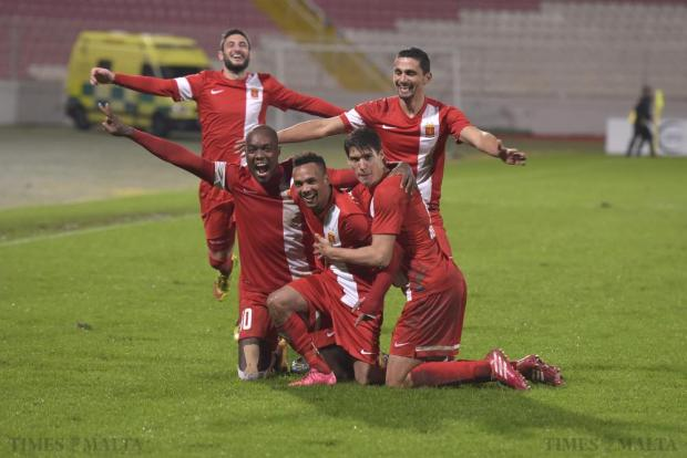 Valletta player pose for the cameras after a goal against Hibernians during their Premier League football match at the National Stadium in Ta' Qali on December 20. Photo: Mark Zammit Cordina