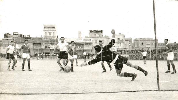 Theodor Wagner scores Austria's second goal.