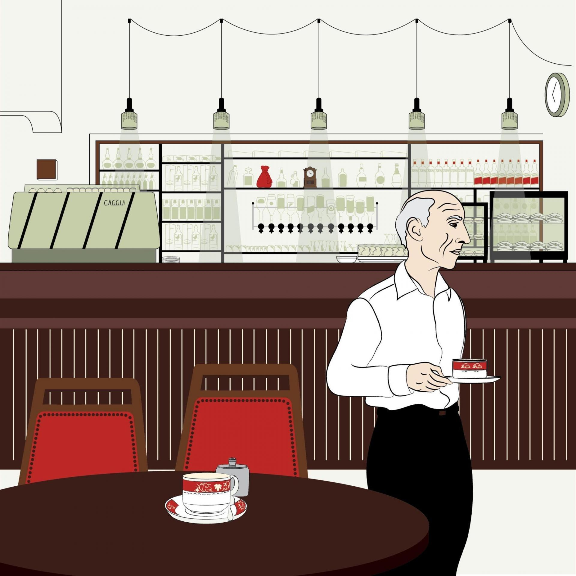An illustration by Nadine Noko of her favourite Valletta hangout, Prego, capturing the good memories for the artist and designer.