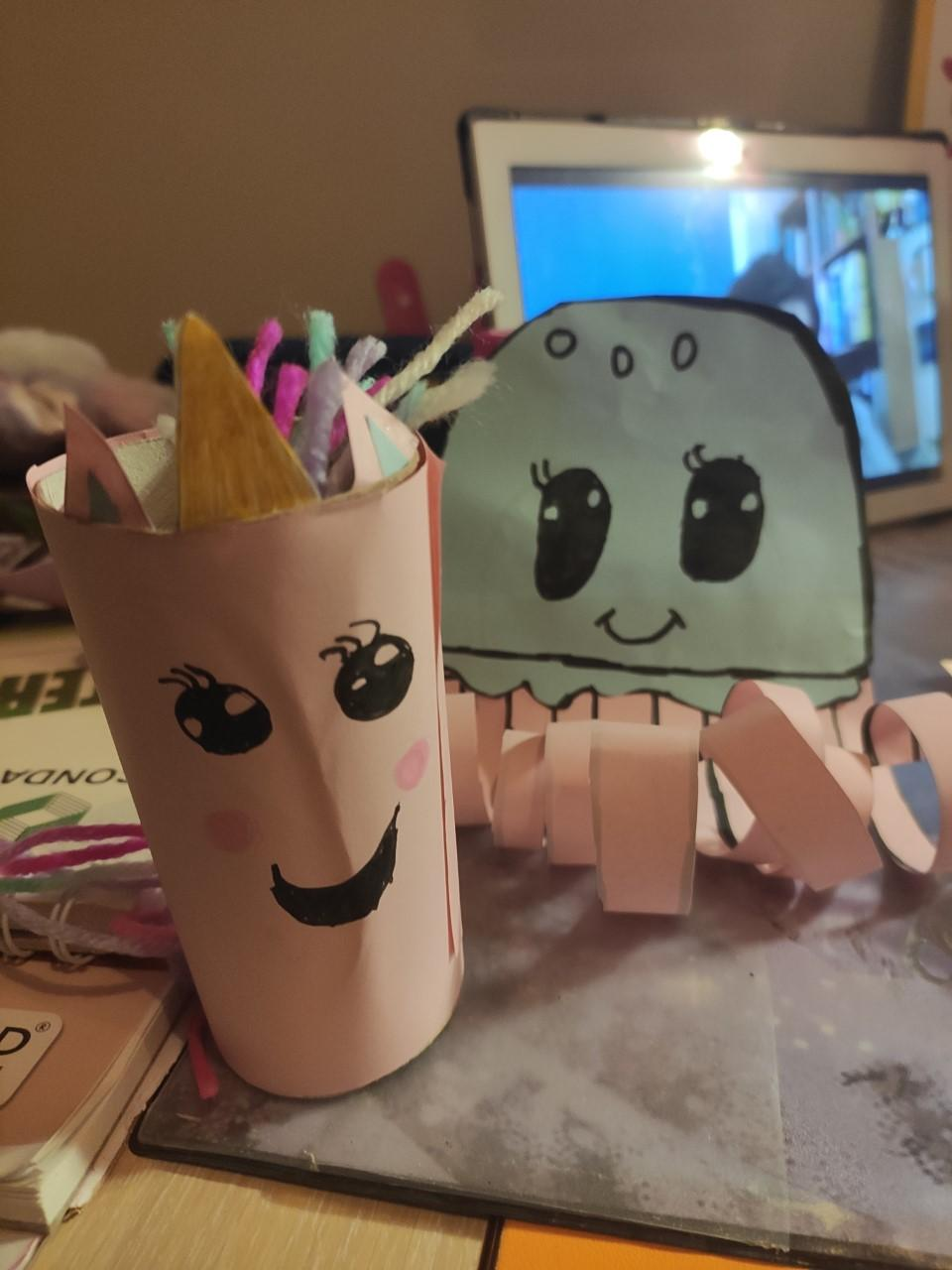 Mikaela (8) wanted to take a break from academic work to work on some crafts.