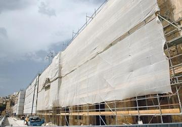 Works underway at Dock One, to be the Cospicua campus of the American University of Malta.