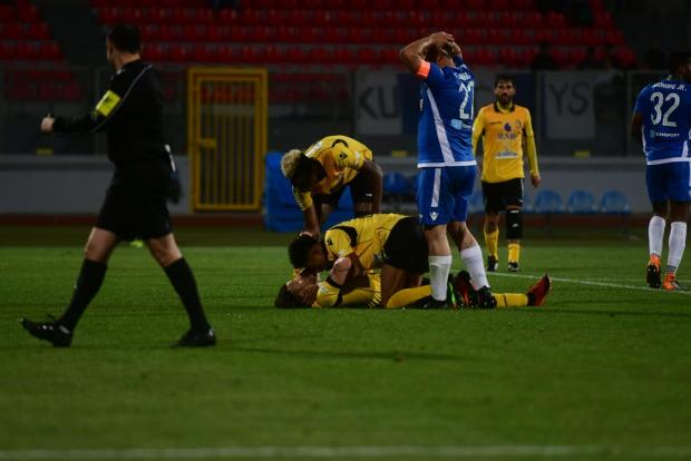 Qormi players reacting after they were awarded a penalty. Photo: Jonathan Borg